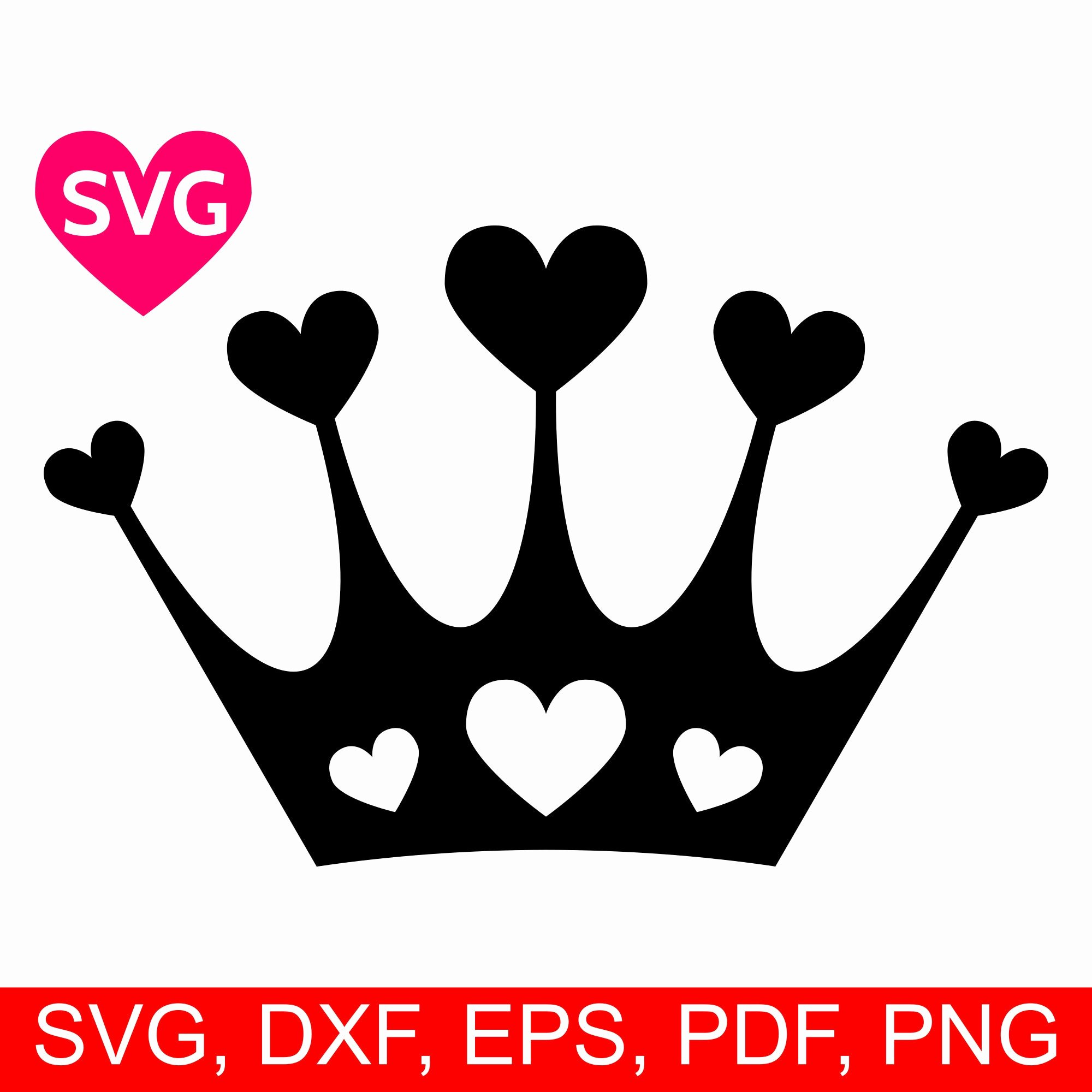 hearts crown svg love tiara svg files