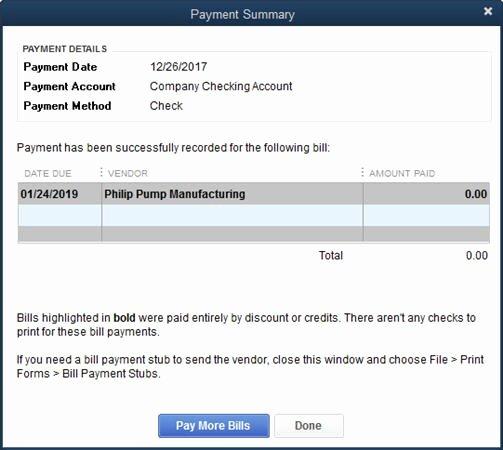 quickbooks 2014 credits on bill payment stubs wonderful