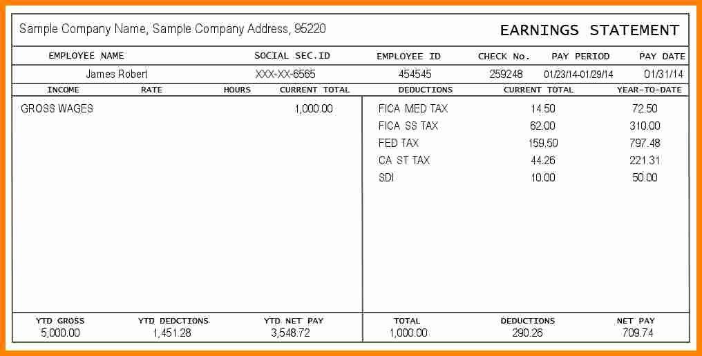 Quickbooks Pay Stub Template Unique 12 Paystub Example