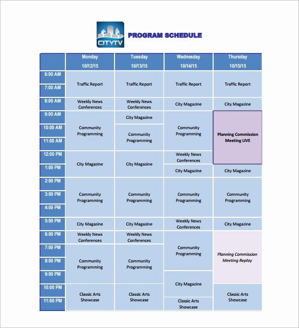 Radio Show format Template Lovely 11 Program Schedule Templates Doc Pdf