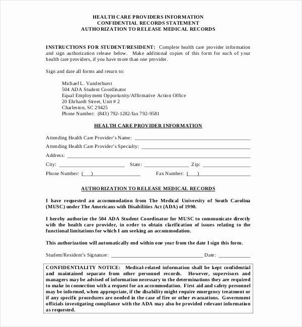 Records Release form Elegant 19 Sample Medical Records Release forms