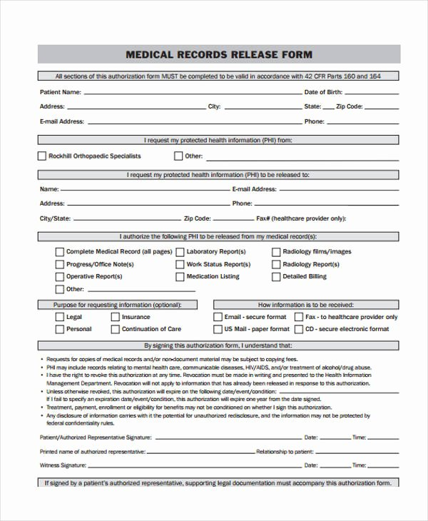 Records Release form Fresh 24 Medical Release form Templates