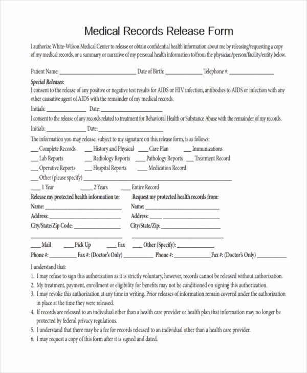 Records Release form Fresh Free Medical form
