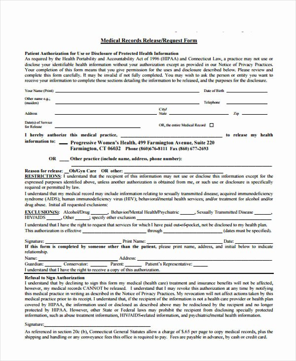 Records Release form Lovely Patient Release form Template