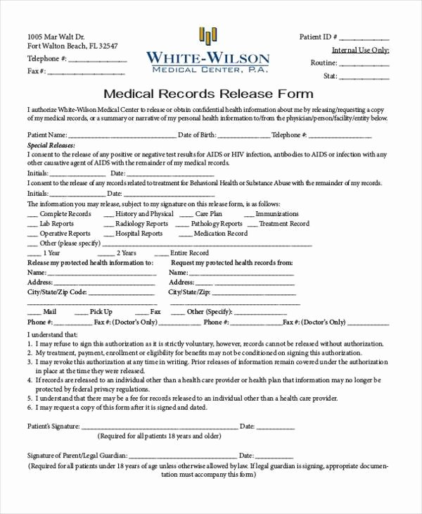 Records Release form Luxury Generic Release forms