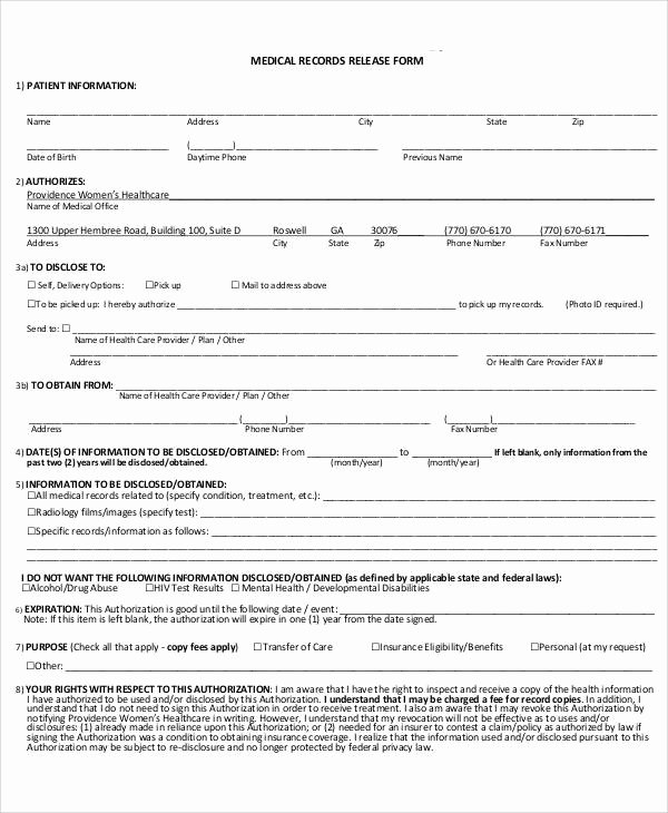 Records Release form New 43 Printable Medical forms