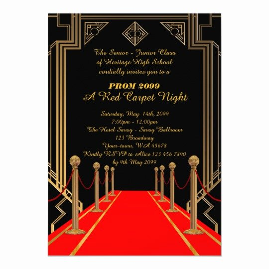Red Carpet Invitation Template Free Awesome Prom Senior Junior Gatsby Style Red Carpet Night