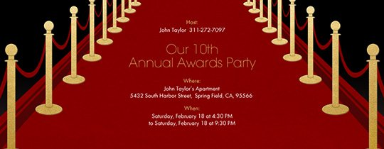 Red Carpet Invitation Template Free Beautiful Free theme Party Line Invitations
