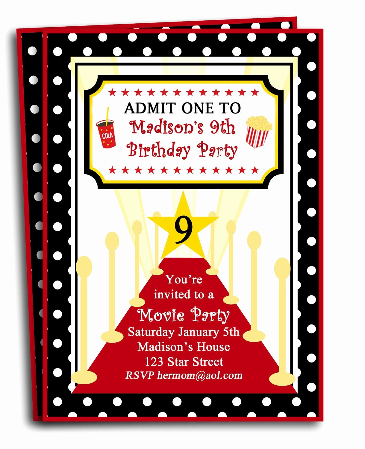 Red Carpet Invitation Template Free Fresh Red Carpet Party Invitation Printable or Printed with Free