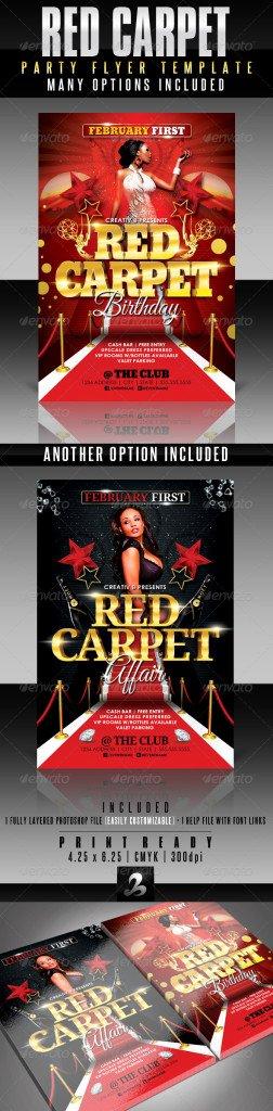Red Carpet Invitation Template Free Unique Red Carpet Party Flyer Template Print Ad Templates