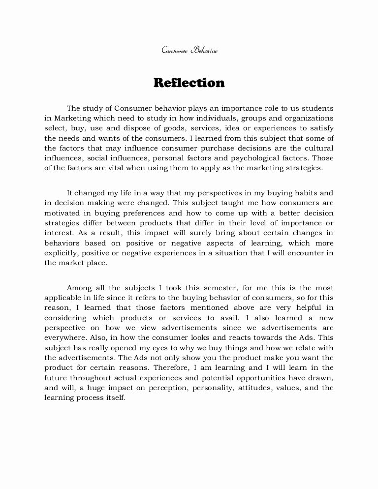 Reflection In English Class Lovely Reflection On Consumer Behavior Methods Of Research and
