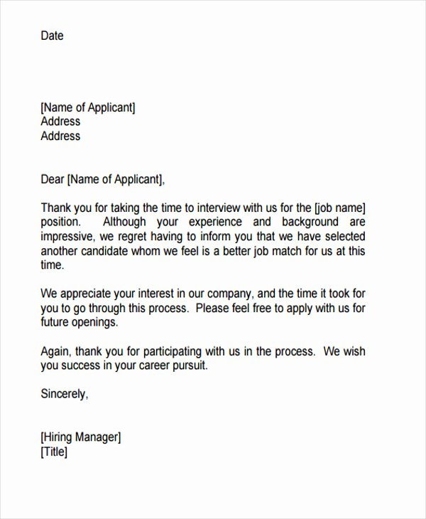 Rejection Letter for Internal Candidate Inspirational 9 Job Application Rejection Letters Templates for the