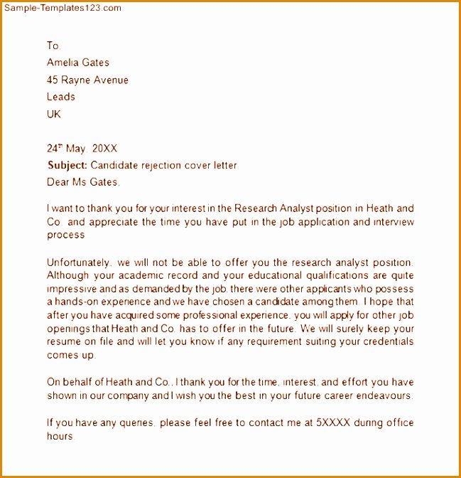 Rejection Letter for Internal Candidate Lovely 5 Candidate Rejection Letter Template Besttemplates