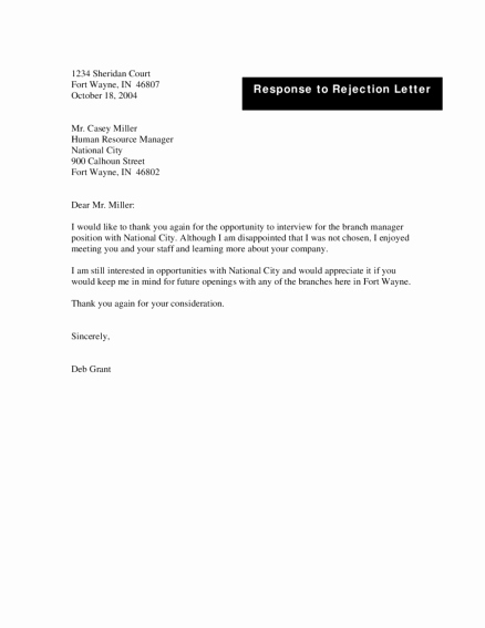 Rejection Letter for Internal Candidate New Sample Candidate Rejection Letter form Template after