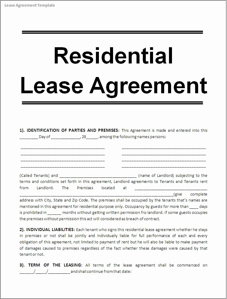 Rent Lease Template Beautiful Printable Sample Free Lease Agreement Template form