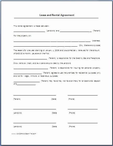Rent Lease Template Beautiful Renters Lease Agreement Real Estate forms