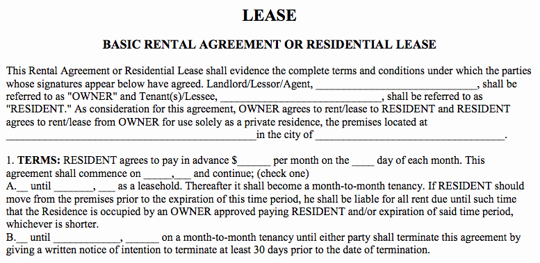 Rent Lease Template Best Of Basic Rental Agreement In A Word Document for Free