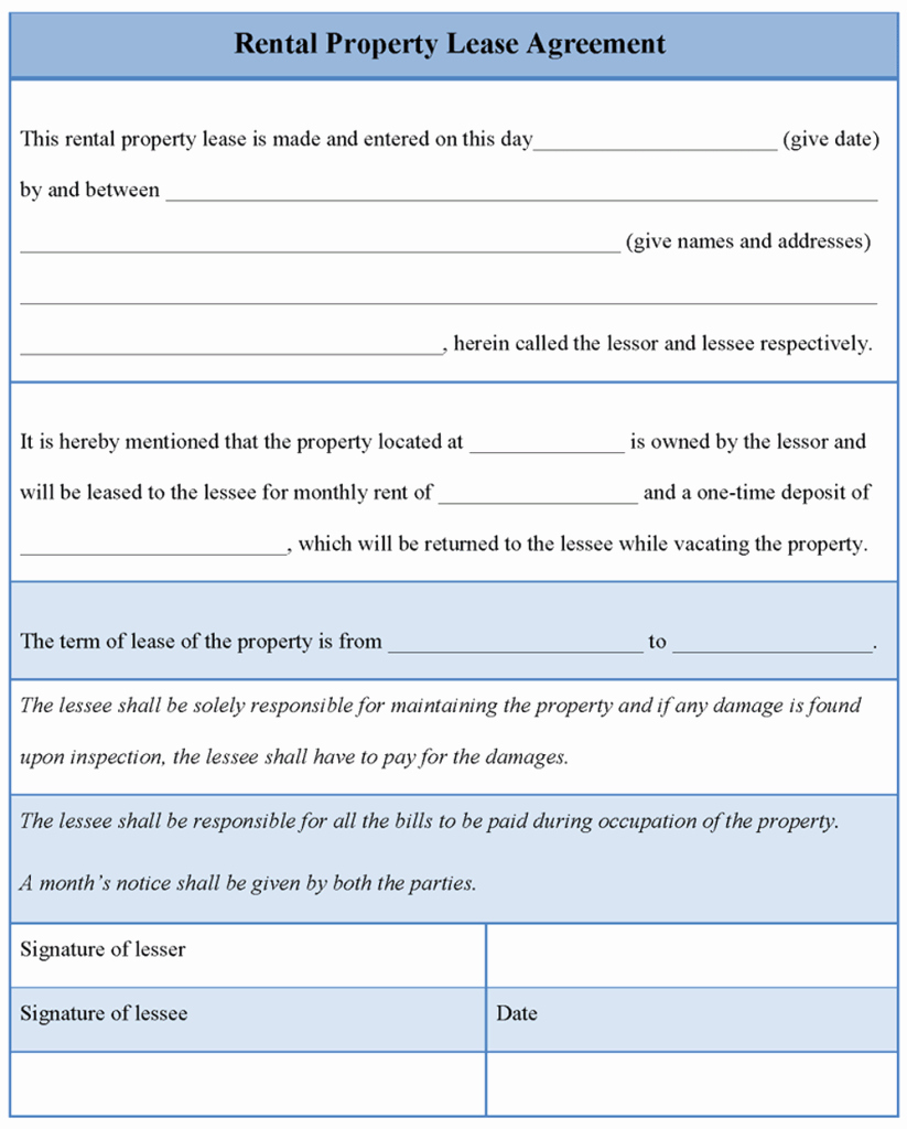 Rent Lease Template Fresh Agreement Template for Rental Property Lease Example Of