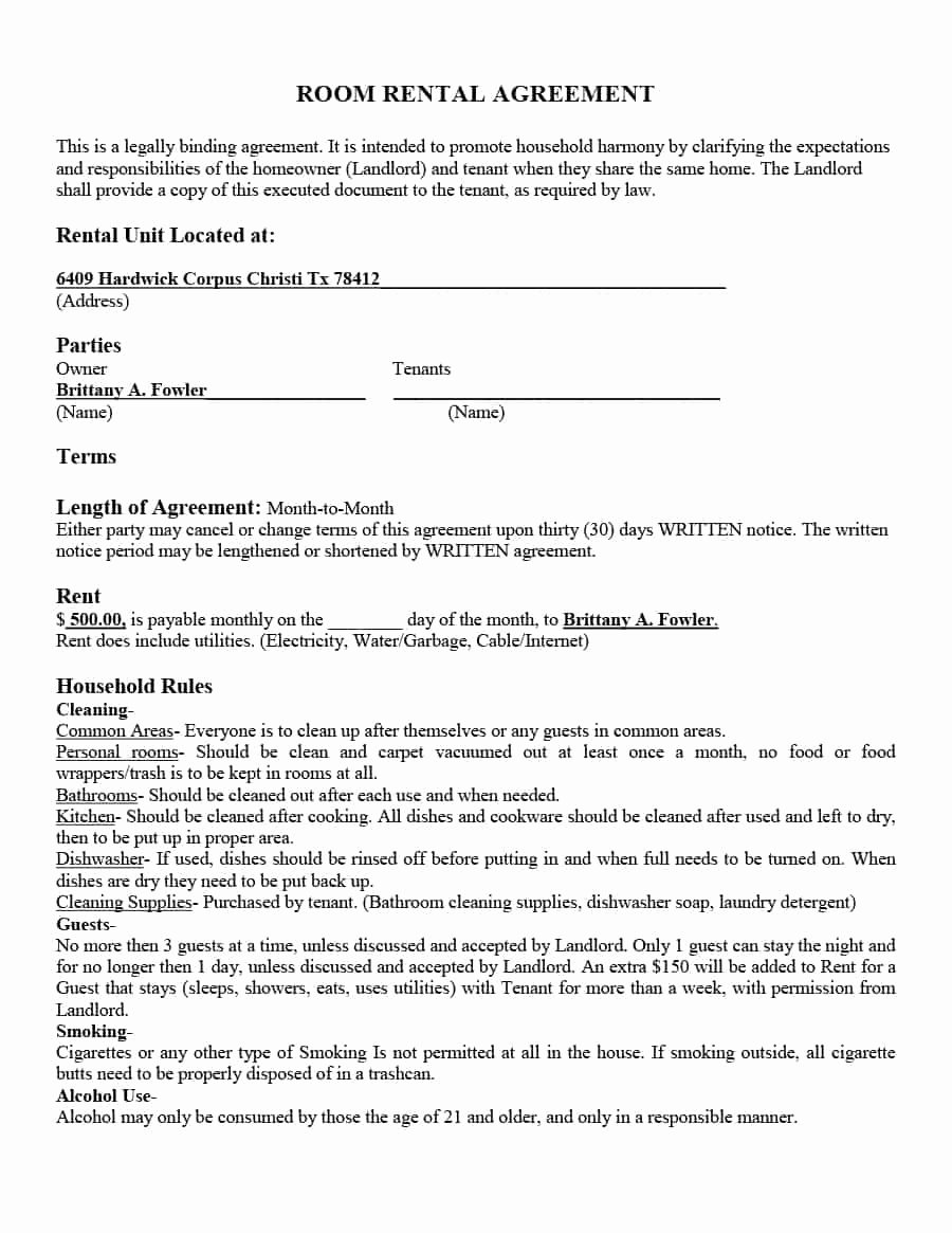 Rent Lease Template Inspirational 39 Simple Room Rental Agreement Templates Template Archive