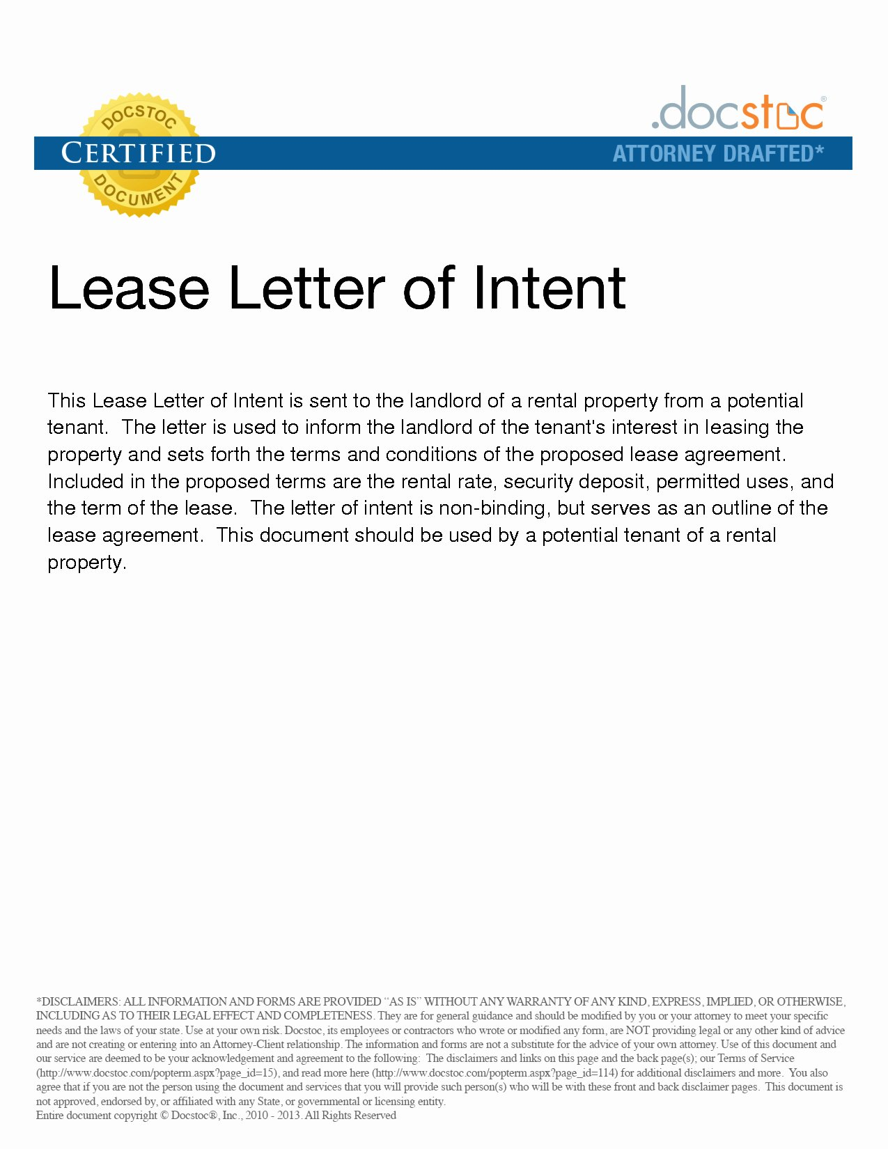 letter of intent to lease mercial property template