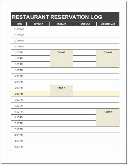 Restaurant Manager Log Book Template Luxury Restaurant Reservation Log Template Ms Excel