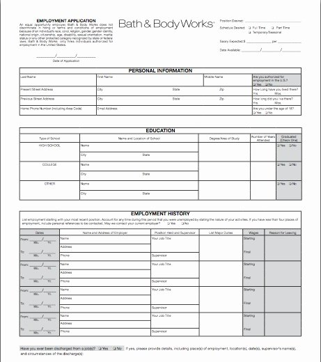 Retail Job Application forms Fresh Bath and Body Works Application Line Job Employment form