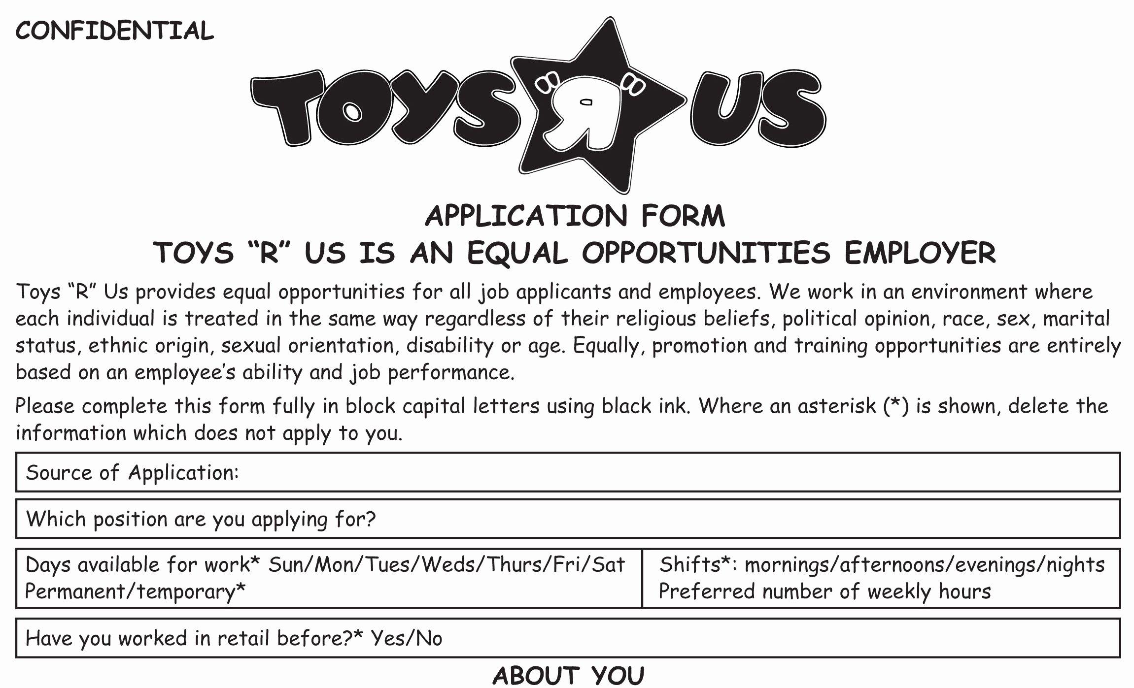 Retail Job Application forms Unique toys R Us Job Application Printable Employment Pdf forms