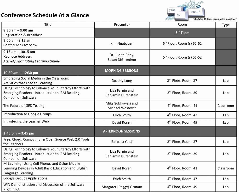 Retreat Schedule Template Elegant Conference Schedule Template
