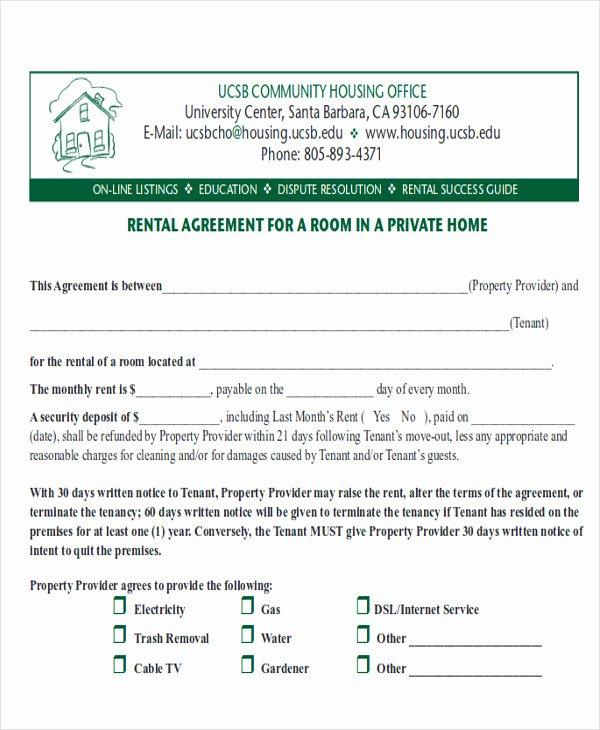 Room Rental Agreement California Free form Fresh 8 Room Rental Agreement form Samples