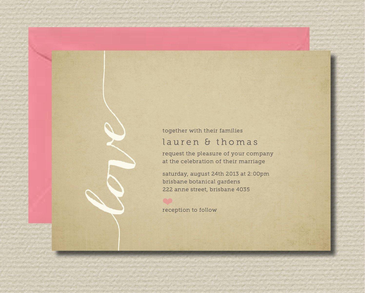 Rsvp Online Wording New Printable Wedding Invitation & Rsvp Love by Rosiedaydesign
