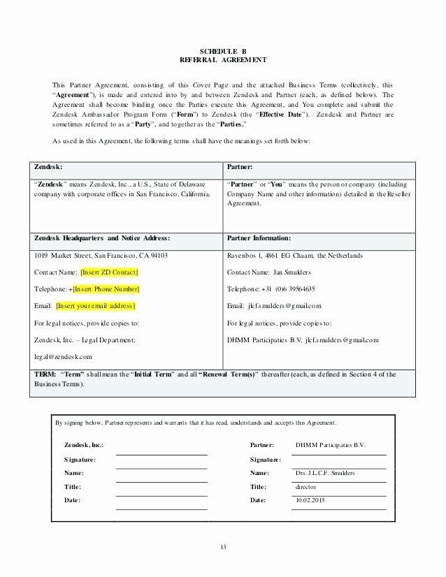 Saas Reseller Agreement Template Fresh Standard Contract Agreement Amazing Reseller Template 9