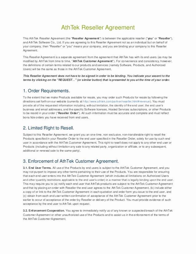 Saas Reseller Agreement Template Unique Saas Reseller Agreement Template