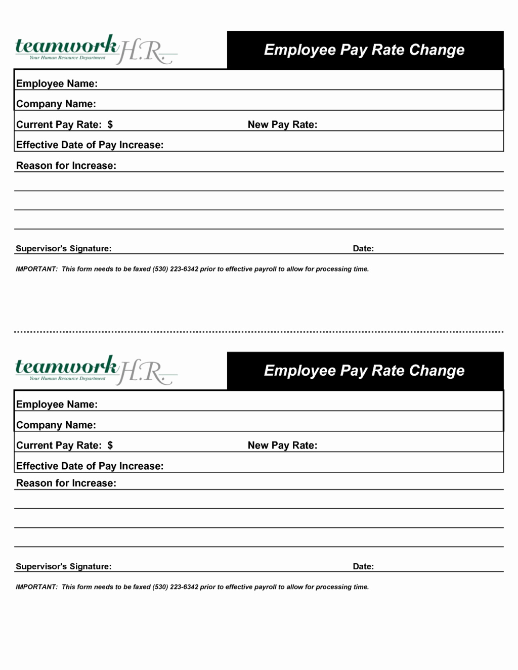 inspirational employee pay rate change increase form designed by nhz