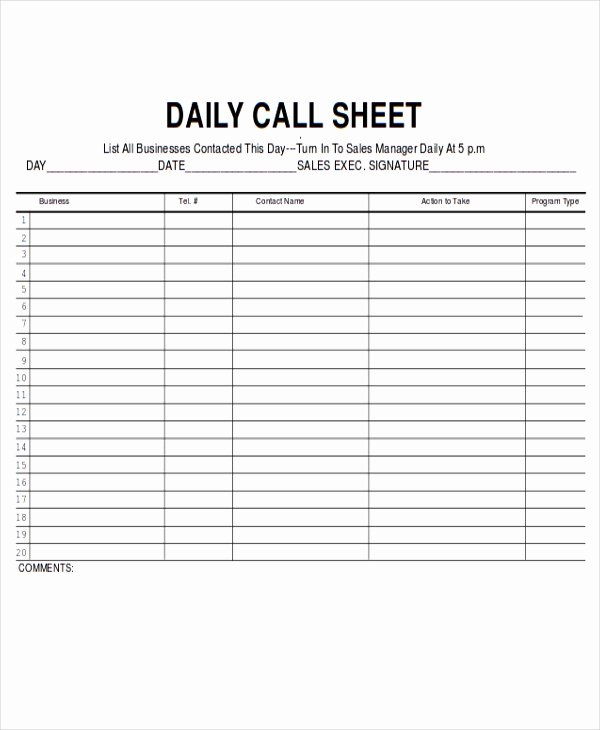 Sales Call Sheet Template Free Awesome 9 Sales Sheet Templates Free Sample Example format