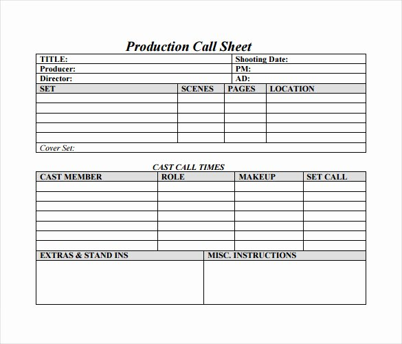 Sales Call Sheet Template Free Best Of 12 Sample Call Sheet Template to Download