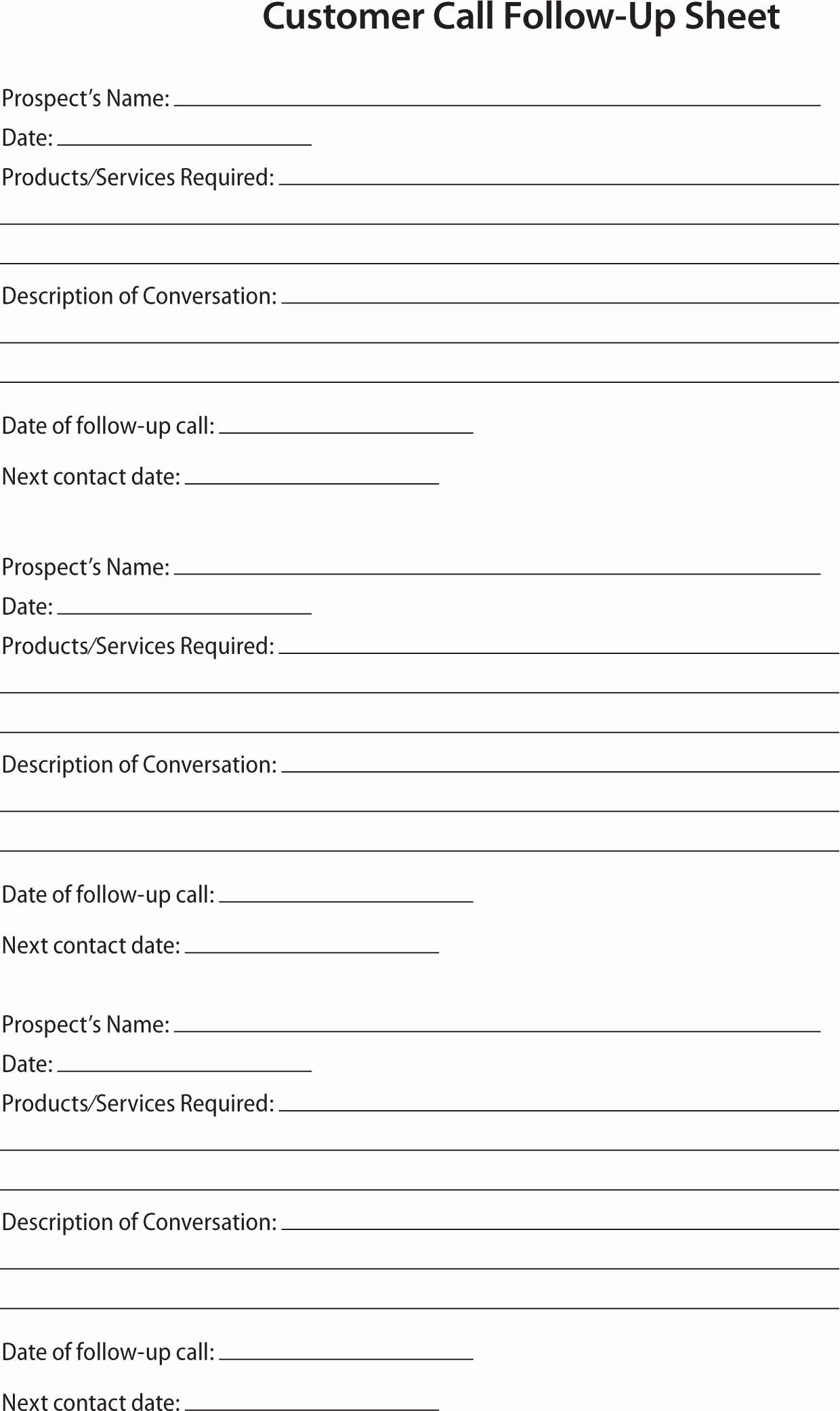 Sales Call Sheet Template Free Best Of 80 20 Prospect Sheet Customer Call Follow Up