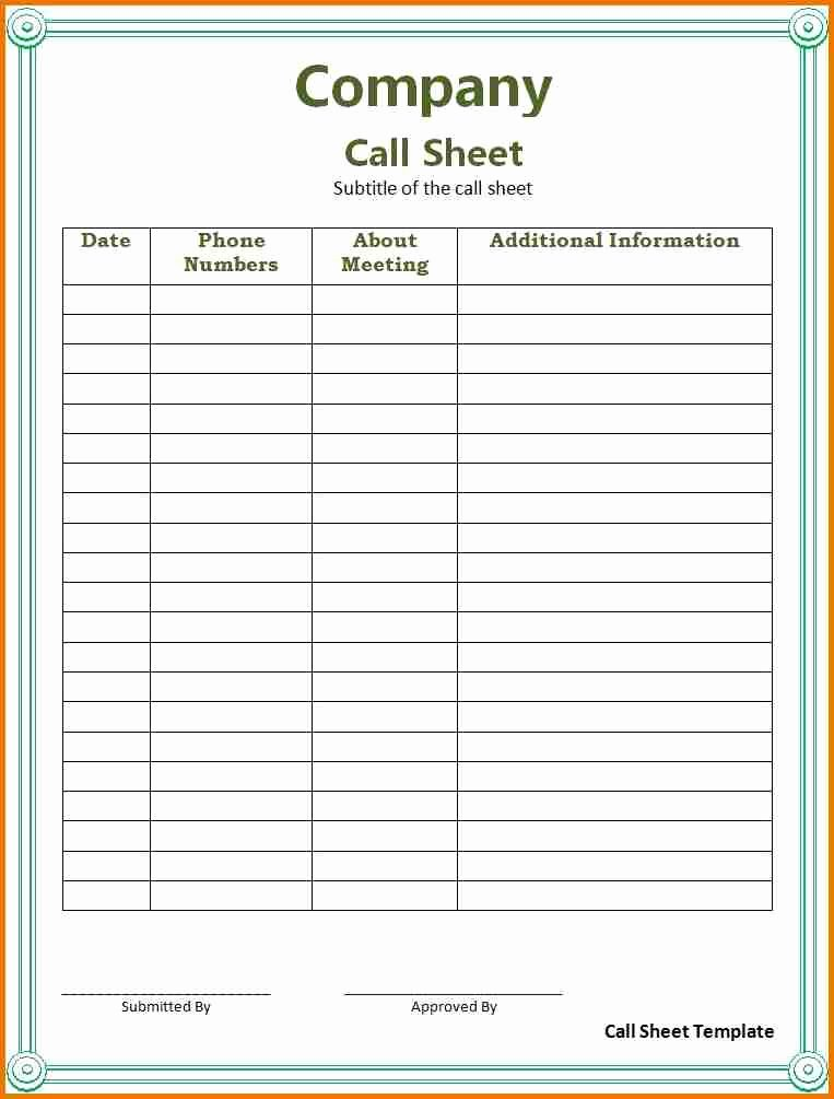Sales Call Sheet Template Free New 27 Of Call Log Template Microsoft
