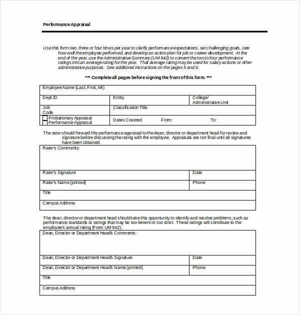 Sales Performance Appraisal form Best Of 10 Sample Employee Appraisal forms Free Sample Example