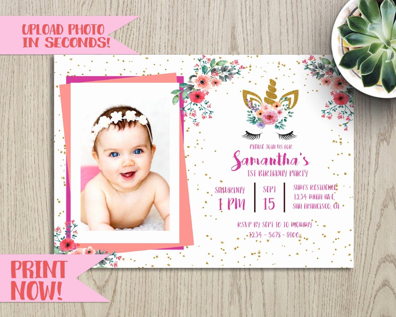 Sample Baptismal Invitations Lovely Diy Photo Upload Unicorn Baby