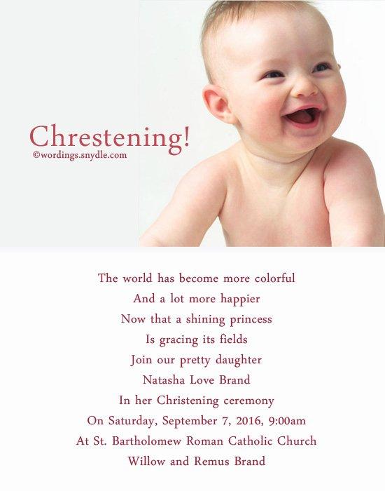 Sample Baptismal Invitations New Christening Invitation Wording Wordings and Messages