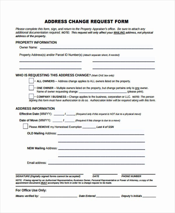 Sample Change Request form Awesome Change form Template