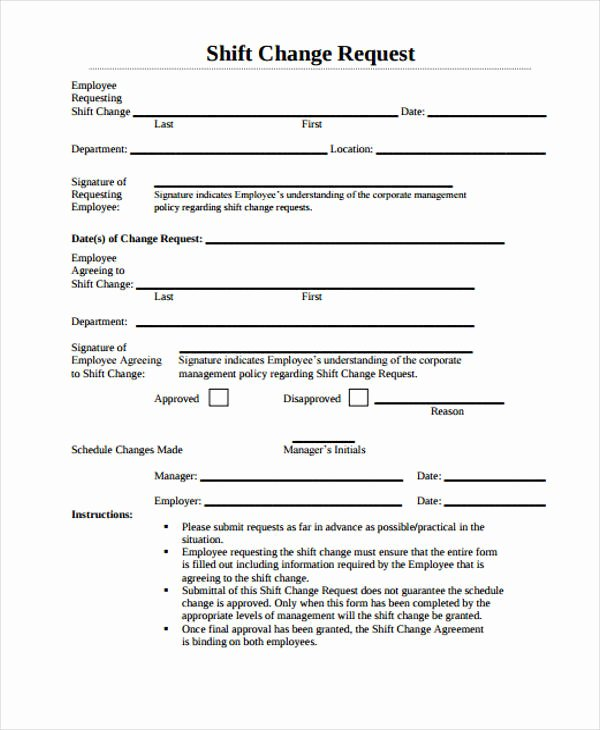 Sample Change Request form Best Of Change form Template