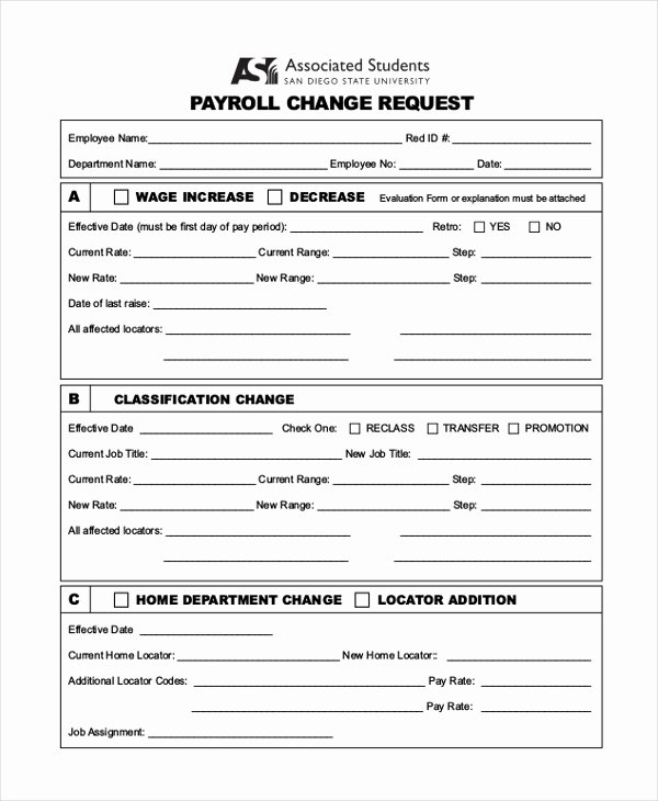 Sample Change Request form Best Of Sample Payroll Change form 10 Free Documents In Pdf