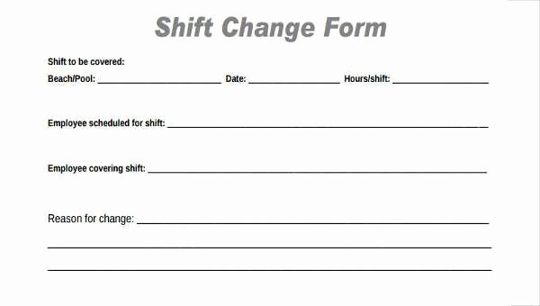 Sample Change Request form New Sample Employee Shift Change forms 7 Free Documents In