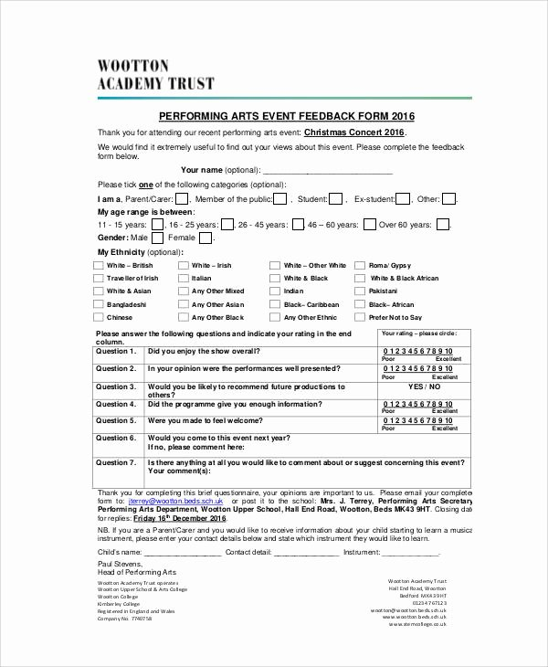 Sample event Evaluation form Beautiful 8 Sample event Feedback forms In Pdf