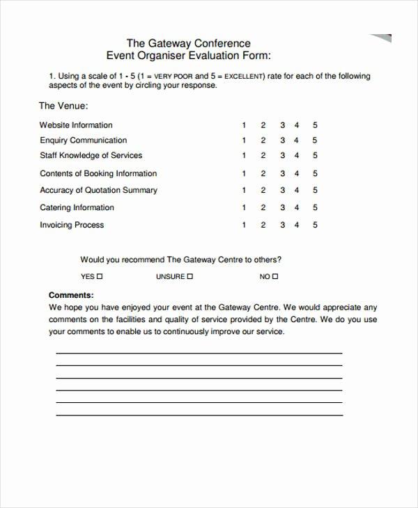 Sample event Evaluation form Elegant 30 event Evaluation form Templates