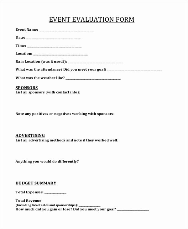 Sample event Evaluation form Luxury Sample event form 21 Free Documents In Pdf Doc