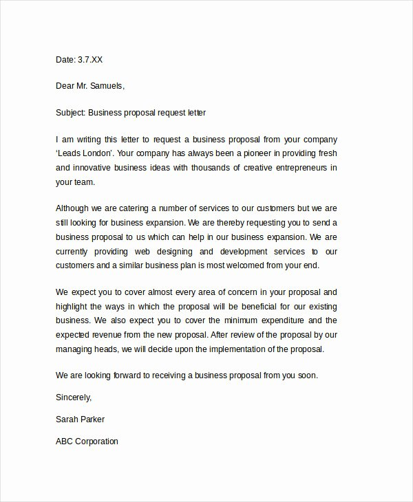 sample letter asking for business opportunity
