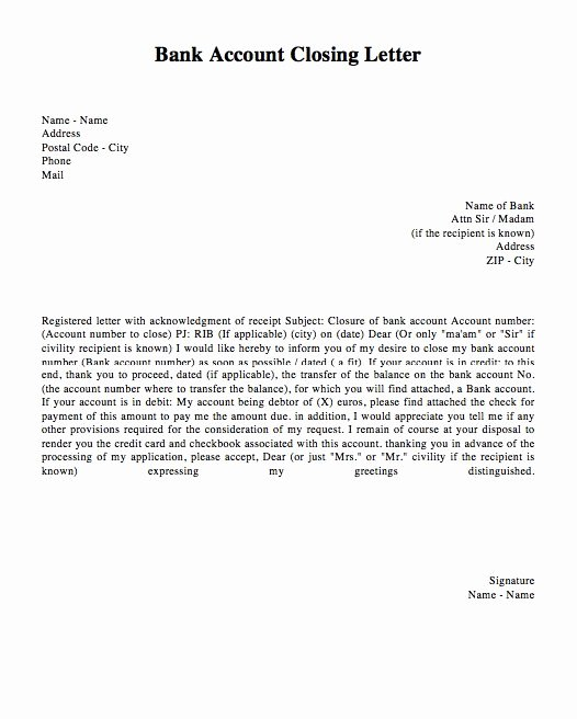 Sample Letter to Close Bank Account Elegant Bank Account Closing Letter Template