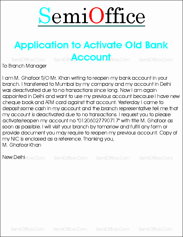 Sample Letter to Close Bank Account Elegant Request Letter to Reopen Bank Account